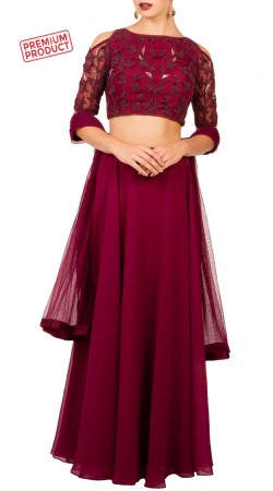 Crimson Georgette Plain Lehenga With Cold Shoulder Choli BP0534