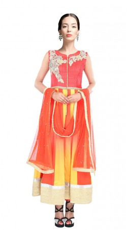 Yellow And Orange Dupion Silk Ankle Length Anarkali Suit SUUDS27304