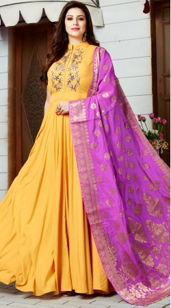 Yellow Art Silk Party Wear Anarkali Suit With Contrast Dupatta 2WV800617
