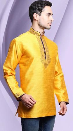 Yellow Banarasi Tassar Silk Chinese Collar Men Short Kurta DTDK763