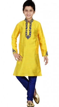 Yellow Bangalore Silk Kid Boy Kurta Pajama GR25313