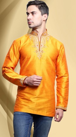 Yellow Dupian Silk Collar V Cut Neck Men Short Kurta DTDK1263