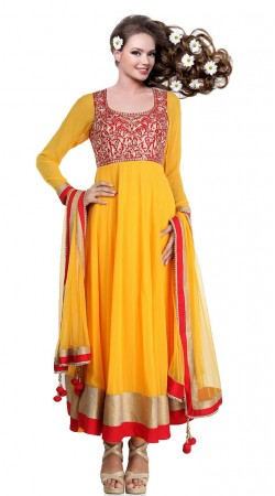 Yellow Georgette Ankle Length Anarkali Suit SU6901