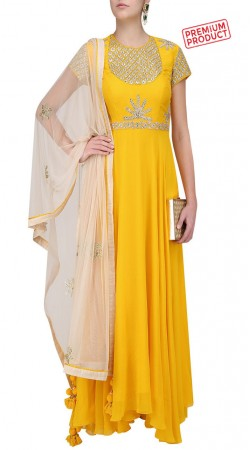Yellow Georgette Asymmetrical Anarkali Suit SUMS27921