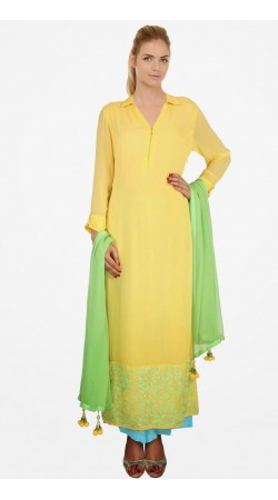 Yellow Georgette Border Embroidered Ready Made Salwar Kameez SUMS912