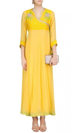 Yellow Georgette Plus Size Angrakha Anarkali Suit SUMS35024
