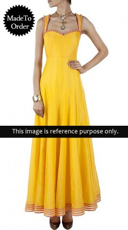 Yellow Chiffon Replica Long Length Anarkali Suit 015