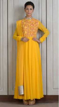 Yellow Georgette Yoke Embroidered Ankle Length Anarkali Suit SUUDS27604
