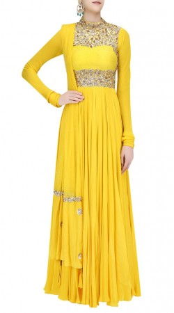 Yellow High Neck Anarkali Suit With Churidar Sleeves SUUDS40920