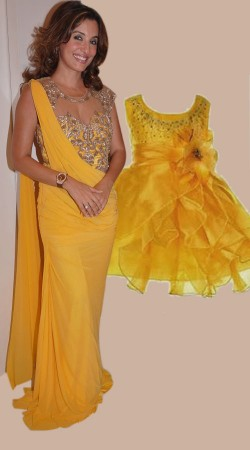 Yellow Mother And Baby Matching Dress For Birthday Party BP1751