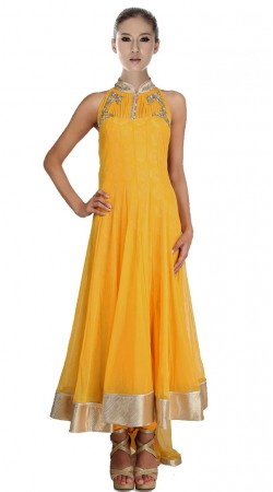 Yellow Net Ankle Length Anarkali Suit SU7301