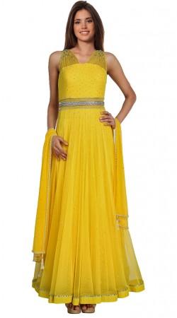 Yellow Net Floor Length Anarkali Suit SU6201