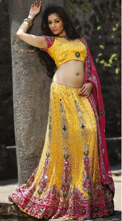 Yellow Net Lehenga Choli LD004203