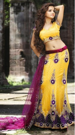 Yellow Net Lehenga Choli LD005103