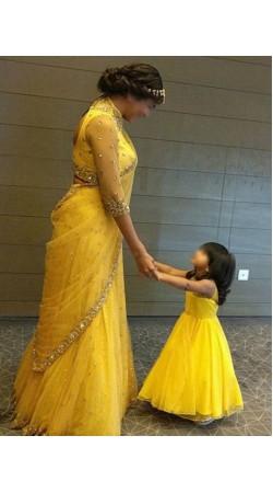 Yellow Net Mother Daughter Combo Dress BP0743