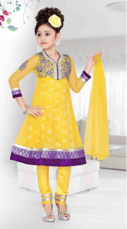 Yellow Net Purple Border Readymade Kids Anarkali Suit DT701637