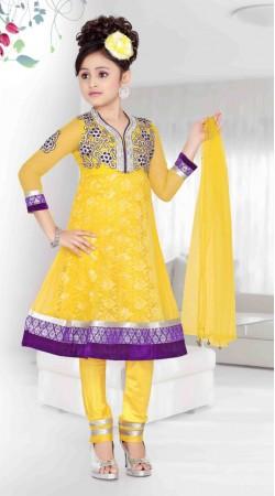 Yellow Net Purple Border Readymade Kids Anarkali Suit DT701637