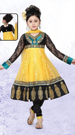 Trendy Yellow Net Readymade Kids Suit DT500529