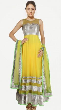 Yellow Net Readymade Party Wear Salwar Kameez With Dupatta SU16910