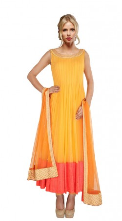 Yellow Net Salmon Border Ankle Length Anarkali Suit With Dupatta SUUDS27404