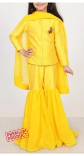 Yellow Silk And Georgette Kid Girl Sharara BP2545