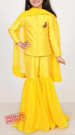Yellow Silk And Georgette Kid Girl Sharara BP2545