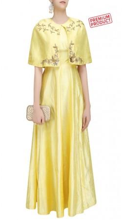 Yellow Silk Designer Cape Anarkali Suit SUMS33221
