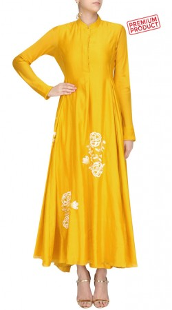 Yellow Silk Floral Work Ankle Length Anarkali Suit SUMS30221