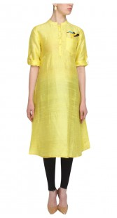 Yellow Silk Knee Length Kurti With One Pocket SUUDK21823