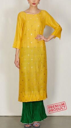 Yellow Silk Long Kurti With Sharara Pant BP2245