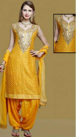 Yellow Silk Party Wear Patiala Suit With Matching Dupatta DT11261