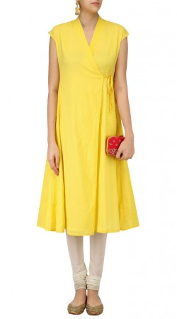 Yellow Silk Plain Angrakha Kurti SUUDK17722