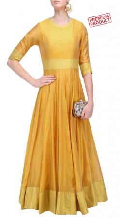 Yellow Silk Plus Size Floor Length Anarkali Suit SUMS30421