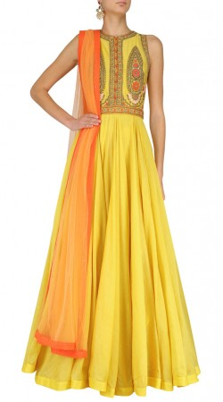 Yellow Silk Plus Size Floor Length Anarkali Suit SUUDS44826