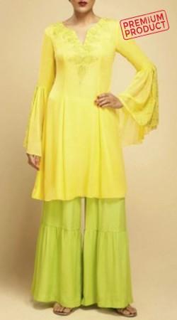 Yellow Umbrella Sleeves Kurta With Sharara Pant BP1045