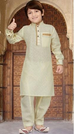 Yellowish Cream Cotton Silk Boy Pathani Kurta Pajama RL1732904