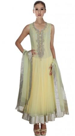 Yellowish Cream Net Ankle Length Anarkali Suit SU1701