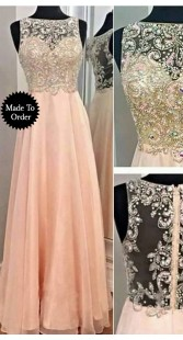 Yoke Embroidered Light Pink Soft Net Replica Long Gown SMDS0EE