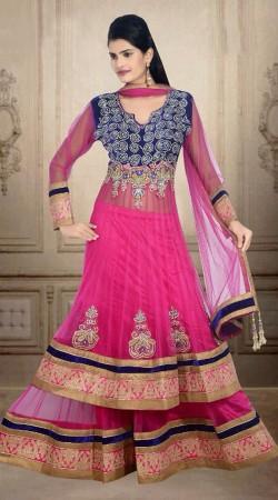 Yoke Embroidered Pink Net Wedding Long Choli Lehenga DT901034