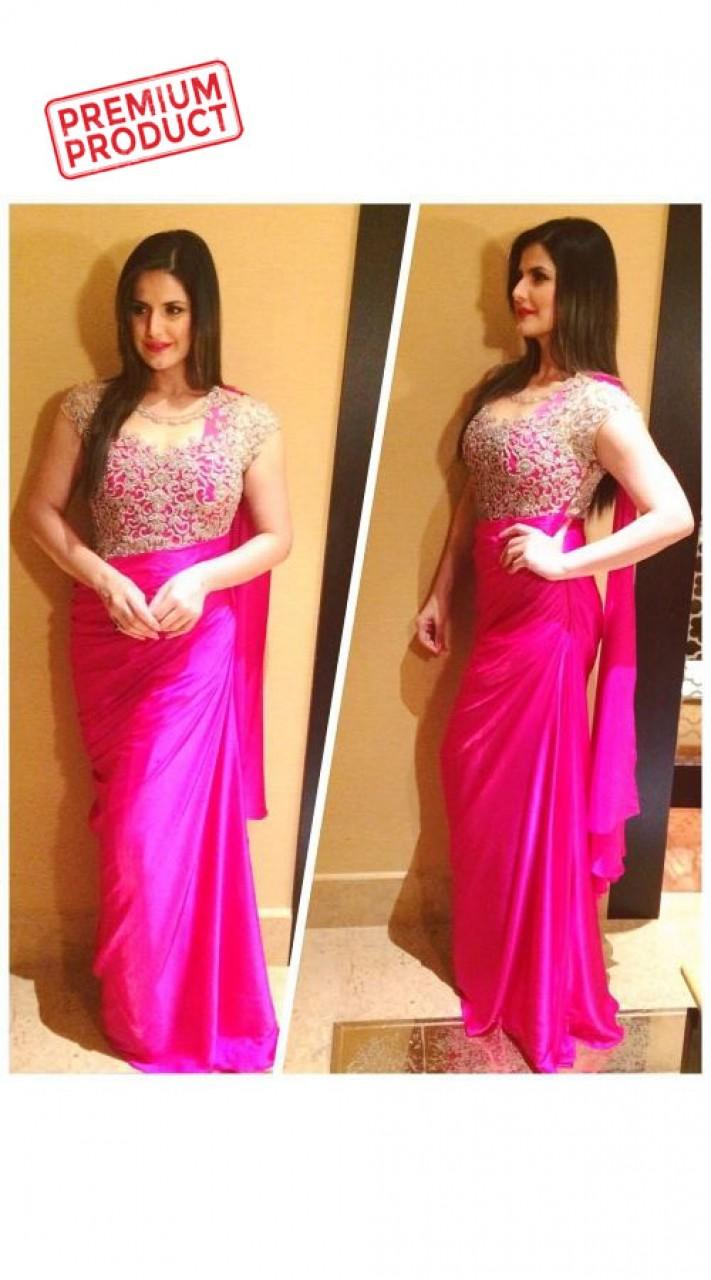 Zareen Khan Saree Gown In Magenta Color BP1046