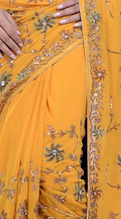 Floral Embroidered Yellow Faux Georgette Diwali Saree ZP2604