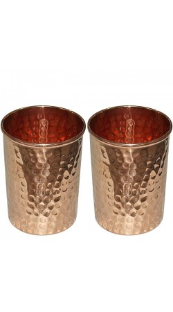 Copper Tumbler Hammered Glasses for Healing Ayurvedic Product set of 2
