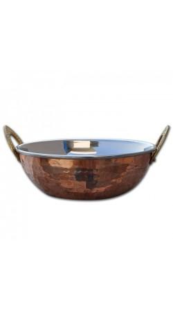 Copperware Serving Karahi Handmade Tableware Pan