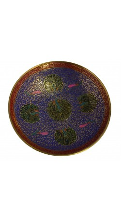 Gold Plated Brass Decorative Round Bowl carving Work Size 8 inch Beautiful blue Color Peacock design Kitchenware