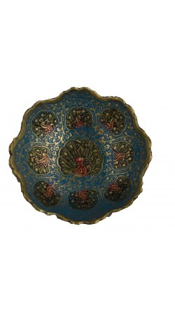 Golden Plated Brass Decorative Bowl carving Work Size 4 inch Beautiful blue Color Peacock design Kitchenware