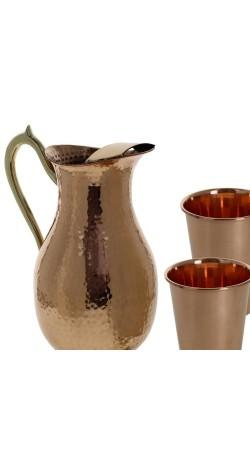 Set of 2 Glasses 1 Water Jug Copper Tableware for Ayurvedic Benefits