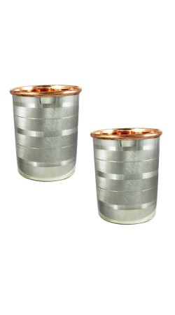 Tumblers Glasses Set of 2 Drinkware Accessories Copper and Stainless Steel for Healing Capacity 350 ML