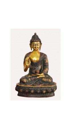 Hand Crafted Lifestory Buddha Statue Fine Carving Religious Idol Antique Brass