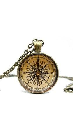 Antique Compass Glass Cabochon Necklace 1pc Long Chain Pendant Necklace Handmade Jewelry
