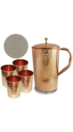 Pure Copper Jug and 4 Water Glasses Set